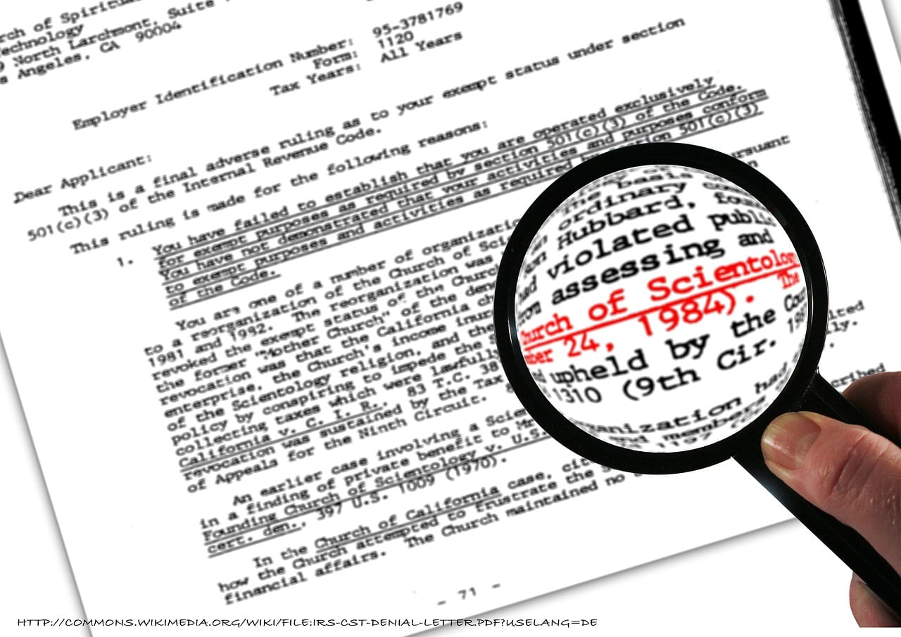 IRS scientology denial of tax exempt status letter